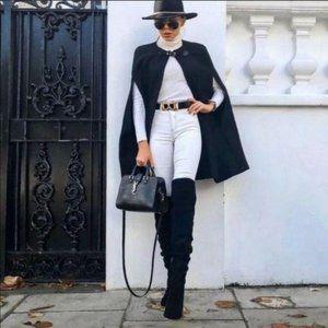 Womens Zara Manteco Wool Blend Black Cape Size S